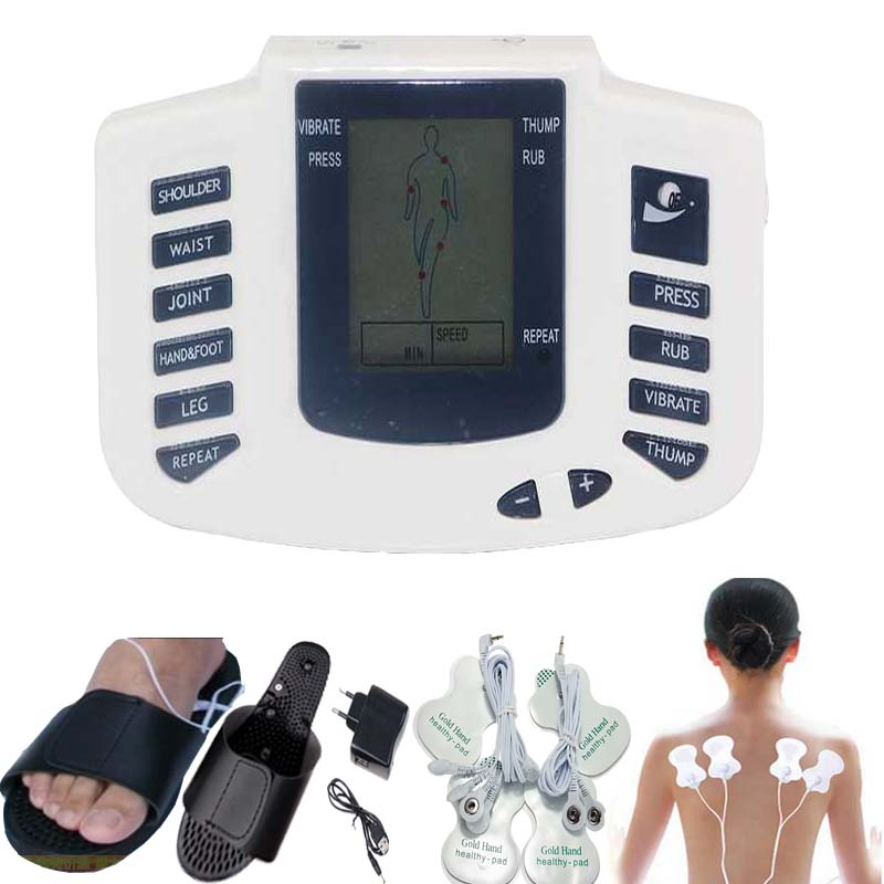 Electric Stimulator Full Body Relax Muscle Therapy Massager Pulse tens Acupuncture foot neck back Massage slimming slipper 8 pad quality guaranteed new silver color large lcd screen mini electric massager digital pulse therapy muscle full body massager