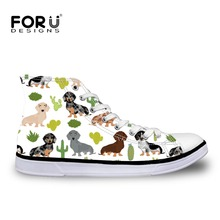 FORUDESIGNS Dachshund Dog Printed Women Vulcanized Shoes Canvas Flat Footwear Sneakers Breathable Casual Shoes Tenis Feminino