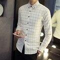 2017 Новый Осенняя Мода Марка Мужчины Одежда Slim Fit Мужчины С Длинным Рукавом Рубашки Мужчины Плед Хлопок Повседневная Мужчины Рубашка