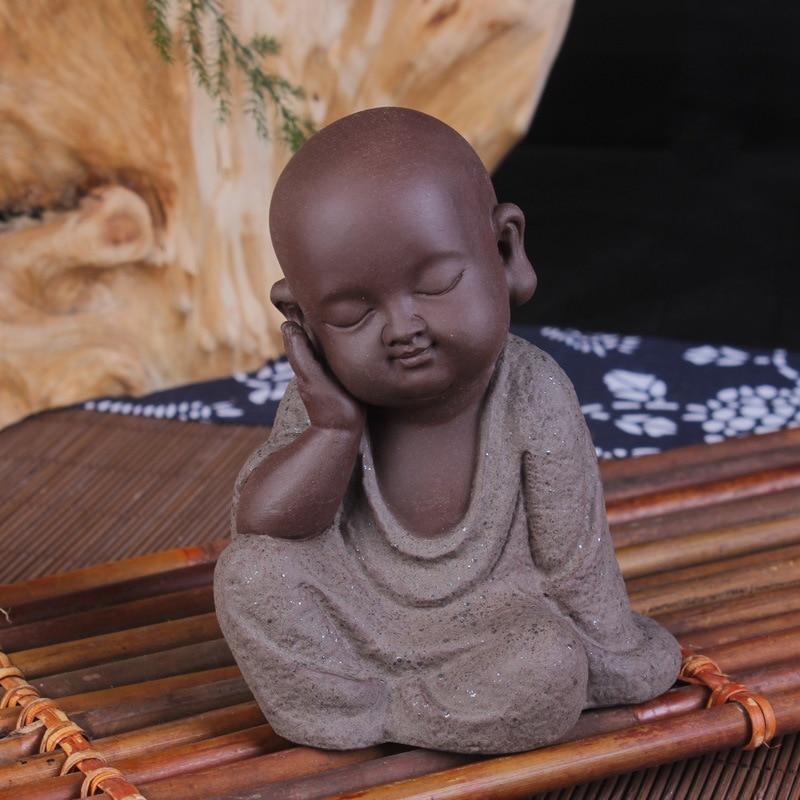 Ceramic Little Monk Buddha Statues Tea Pet Creative Home Furnishing Articles Small Adornment Home Decor Ornament Landscape
