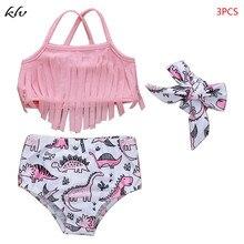 3 Pcs/set Children Kids Swimsuit Tassel Sling Cute Little Dinosaur Printing Girls Swimsuits Seaside Swimming Pool Clothes Suit