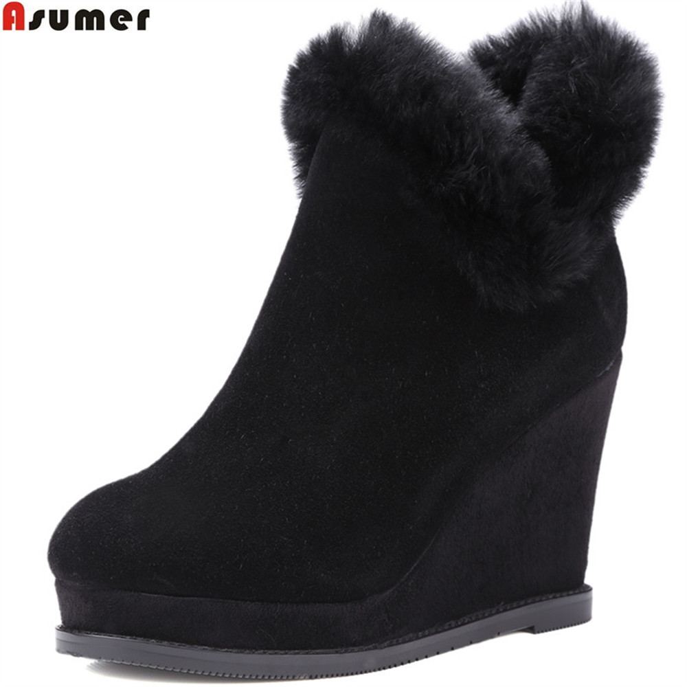 ASUMER fashion women boots black gray new arrive ladies cow suede boots round toe zipper fur wedges ankle boots keep warm new arrival women genuine leather flat ankle boots fashion round toe lace up ankle boots for women ladies casual cow suede boots