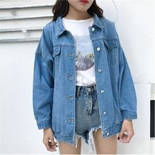 Spring Autumn Bomber Streetwear Jacket Women Long Sleeve Denim Short Outerwear Pockets Casual Loose Single Breasted Jean Coat(China)