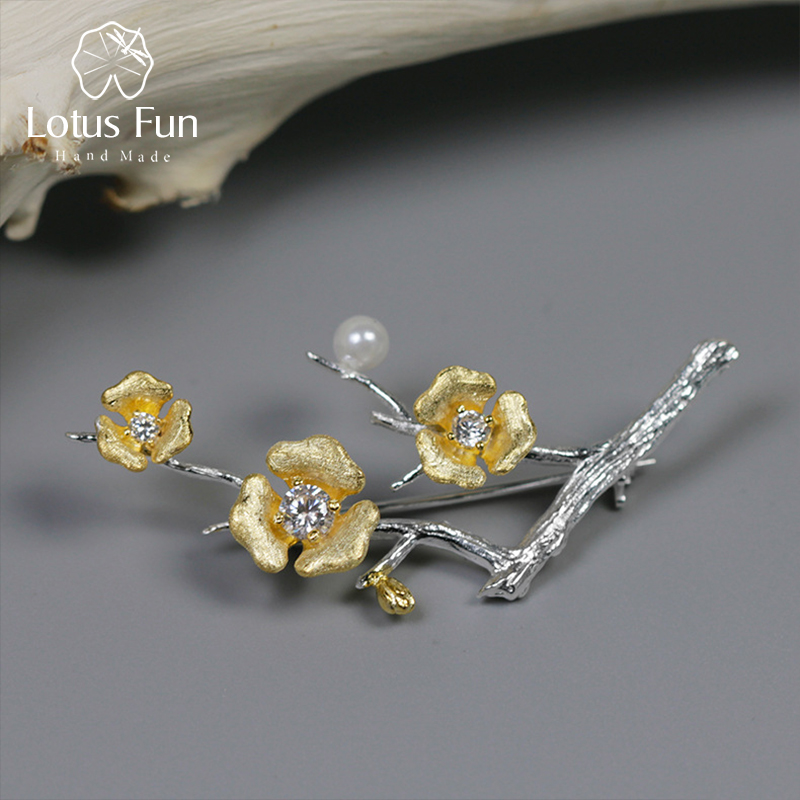 Lotus Fun 925 Sterling Silver Broches Vintage Brooch for Women Shell Pearl Crystal Flower Brooch Pin Fashion Rhinestone Jewelry vintage red rhinestone bean sprout brooch for women
