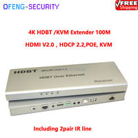 100M 4K HDBT /KVM Extender uses CAT6 cable , HDMI V2.0, HDCP 2.2,POE, with KVM function