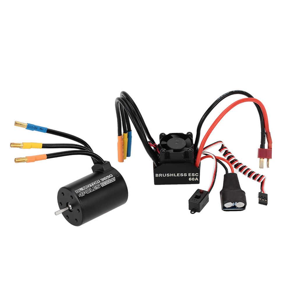 3650 3900KV 4 P Бессенсорный бесщеточный мотор и 60A бесщеточный брызговик ESC с 5,8 V/3A режимом переключателя BEC для 1/10 RC автомобиля