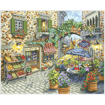 Coffee Wall Decor | DIY Cross-stitch Set For Embroidery Stitch Kit Point De Croix Compter 14ct Coffee Shop Scenic Embroidery Wall Home Decor 16 New