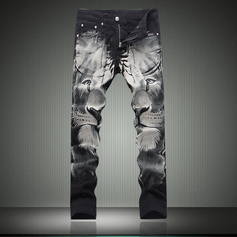 New Arrival Winter Black Mens Jeans Lion Printed Biker Jeans Fashion Designer Denim Overalls Mens Straight