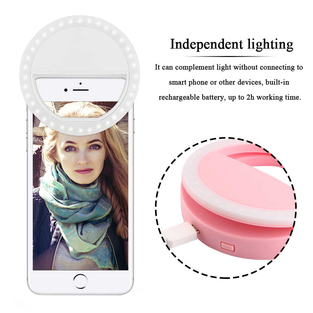 Portable USB charger Selfie Rechargeable Led Ring Selfie Light Smartphone LED Ring Light Night Darkness  Photo Taking