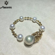 ANI 14K Roll Yellow Gold Pearl Bangle Natural Baroque Shaped Pearl Jewelry Fashion Freshwater White Pearl Bracelet for Women