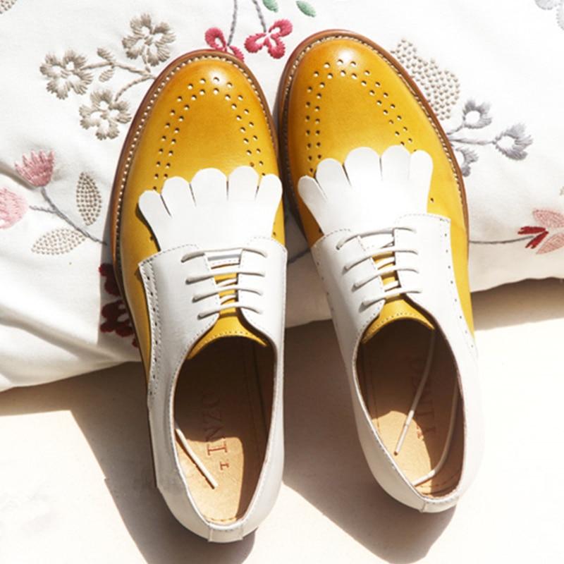 Zapatos planos de mujer 2019 de cuero genuino de punta redonda planos plataforma brogues señoras verano Mujer gladiador zapatos de suela de goma plana-in Zapatos planos de mujer from zapatos    1
