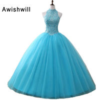 Newest Blue Quinceanera Dresses Tulle With Appliques Beadings Sweet 16 Dresses Puffy Ball Gown Vestido De
