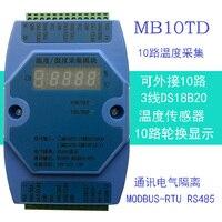 DS18B20 10 Multi Channel Temperature Acquisition Module Modbus RTU RS485