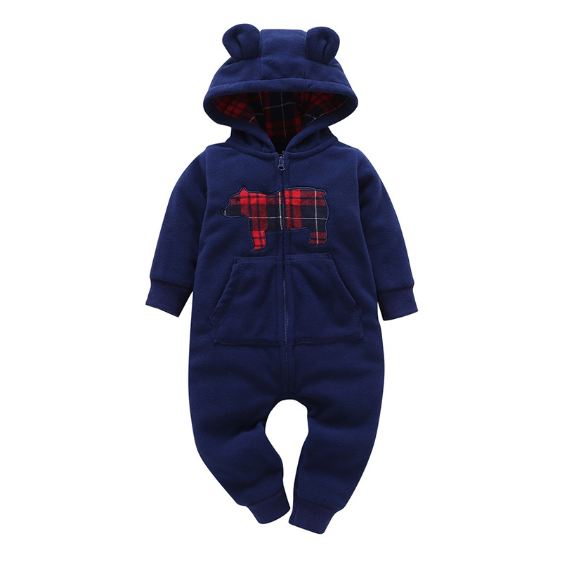 Autumn Winter Infant Baby Clothes Fleece Printed Cartoon Bear Jumpsuit Boys   Romper   Hooded Jumpsuit Warm Onesie Baby