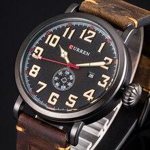 Męski zegar CURREN pasek ze skóry naturalnej zegarek męski wyświetlacz tydzień data zegarek kwarcowy moda Business Men zegarki
