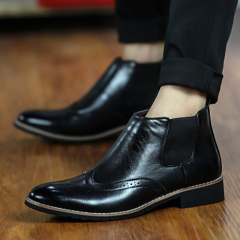 LOVE Spring Autumn Men\'s Chelsea Boots Casual Round Toe Brogue Leather Boots For Men Ankle Boots Square Heel Dress Shoes F107 (16)