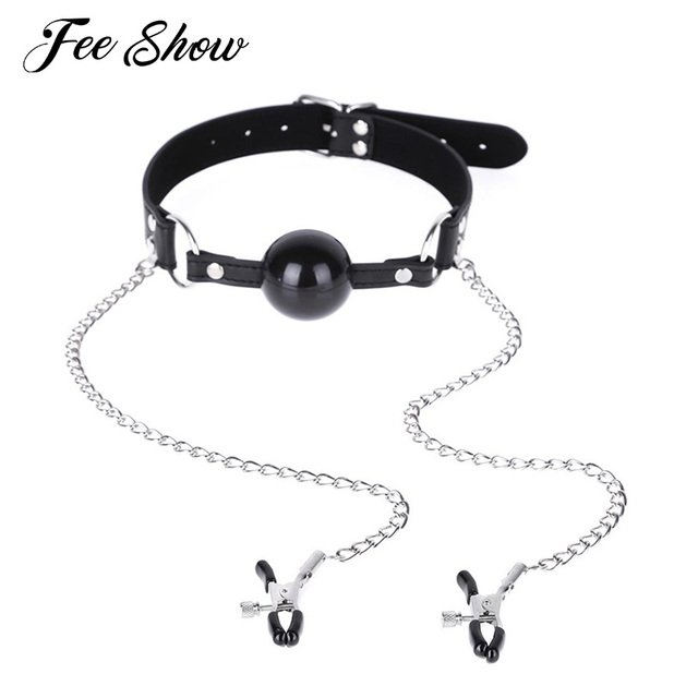 New Sexy Women Adjustable Buckled Choker Collar Belt With Open Mouth Ring Silicon Ball Gag Chained