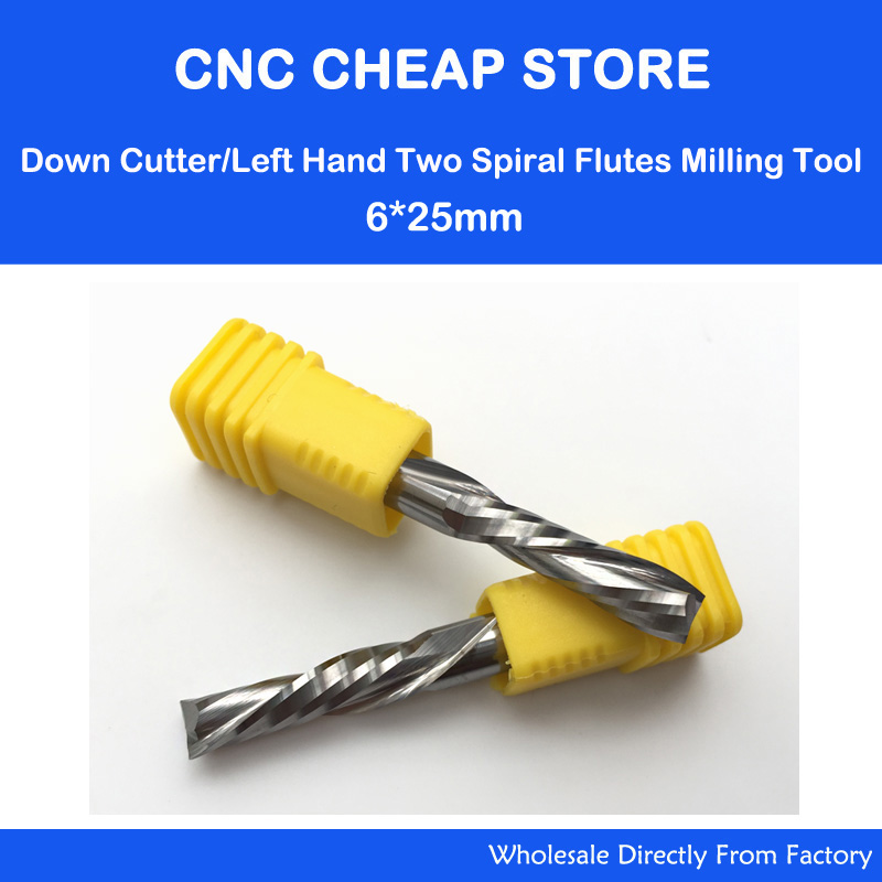 2pcs AAA 6x25mm Left Handed DOWN Cut Two Flutes Spiral Carbide Mill Tool Cutters for CNC Router, Wood End Mill Cutter Bit 8 60 90 120 v 2 flutes cnc machine engraving bit two spiral cutter cnc router endmill
