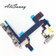 AliSunny 10 adet güç Flex kablo iPhone 5S için dilsiz ses kontrol düğmesi açık kapalı anahtarı şerit Metal braketi onarım parçaları