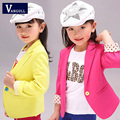 2016 autumn new kids slim girls spring jacket Korean children pure cotton candy colored suit jacket