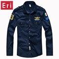 Brand Shirts Aeronautica Military Air Force One Shirt Men Long Sleeve Casual Embroidery Logo Patch Plane Pilot Shirt 4XL X501