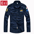Marca Camisas Aeronautica Militar Air Force One Homens Da Camisa Manga Longa Casual Logotipo Bordado Patch Avião Piloto Camisa 4XL X501