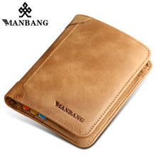 ManBang Genuine Leather Men Wallets Short Male Purse Men Wal
