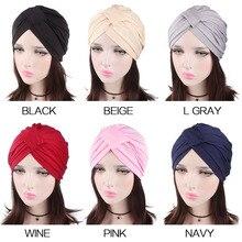 Vintage Soft Women Turban Hat Chemo Beanies Head Wrap Skull Cap Elastic Scarf Hijab Headband For Cancer Hair Loss Accessories