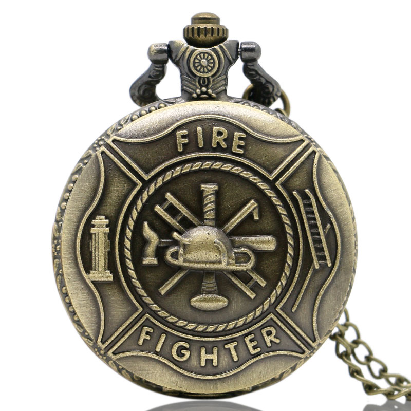 Vintage Cool Bronze Fire Fighter Quartz Pocket Watch Necklace Pendant Chain Mens Christmas Gifts