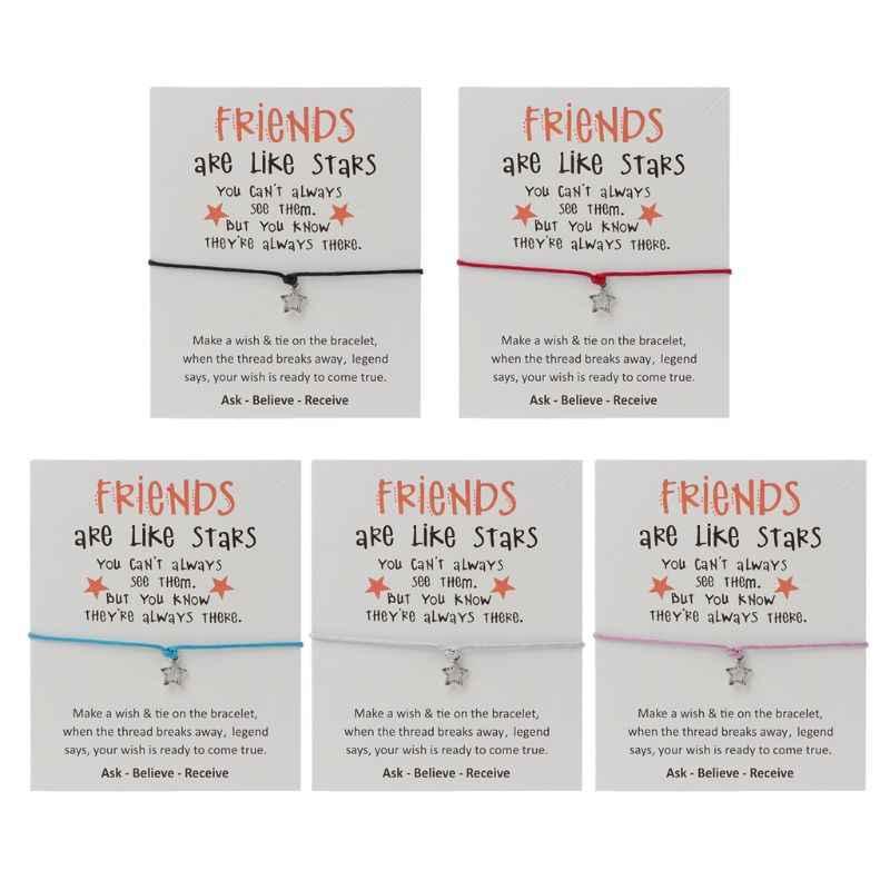Amistad reflexiva deseo tarjeta cera cuerda pulseras con estrella encanto BFF joyería HM