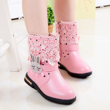 2016winter female child snow boots child attached the skates female genuine leather cotton boots