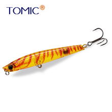 цена Tomic fishing lures hard bait 70mm stickbait whitefish floating topwater pencil bait онлайн в 2017 году