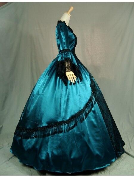 Синие Бальные платья в викторианском стиле с черным кружевом