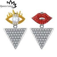 Queen Lotus 2017 donne Gioielli Moda creativa e Personalizzata labbra rosse di cristallo occhio borchie zircone triangolo orecchini della signora ragazza regalo