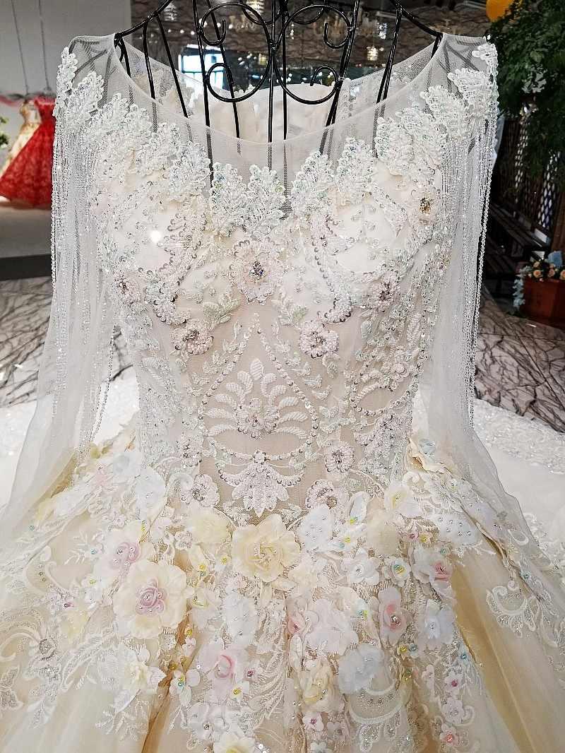 LS62347 O-образным вырезом новый стиль зашнуруйте вверх по свадебному свадебному платью платье назад 2018 принцесса свадебное платье с длинным поездом