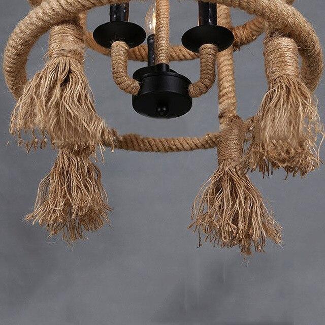 Amerikaanse Vintage Touw-plafond lamp 5