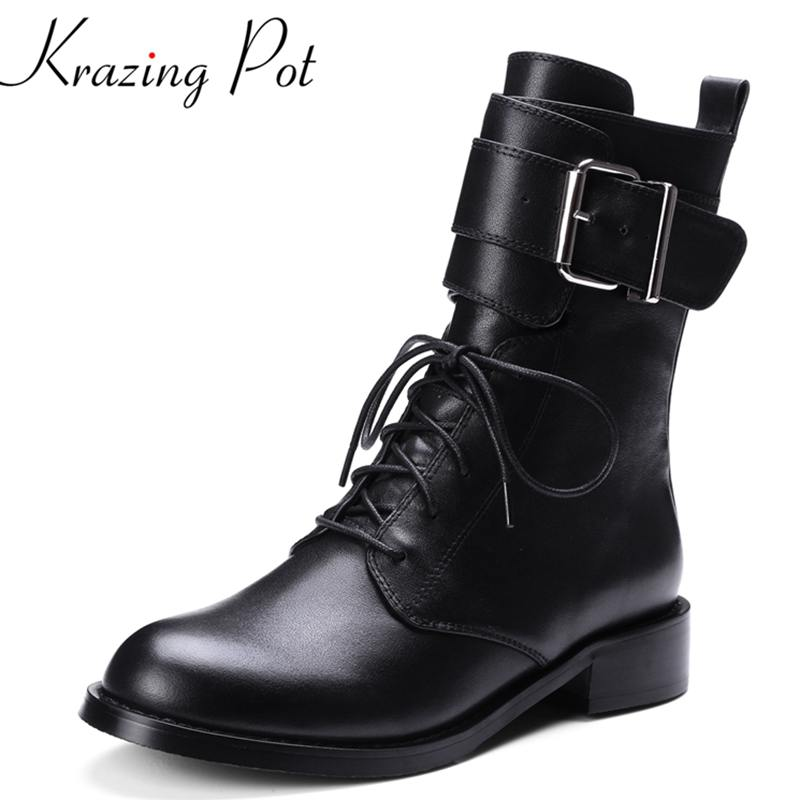 Krazing Pot new arrival thick heel round toe lace up motorcycle boots superstar party flowers vintage women Mid-Calf boots L3f1 round up 1 2 3