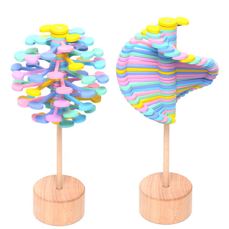 Wooden Fidget Roll Helicone Magic Wand Stress Relief Toy Rotating Lollipop Creative Art Decoration Office Decompression Children