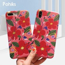 Pohiks Phone Back Cover For iphone 8 7 6 6s Creative Watercolor Flower Soft Case Cover For iPhone XS Max XR X 6 7 8 Plus Fundas цена