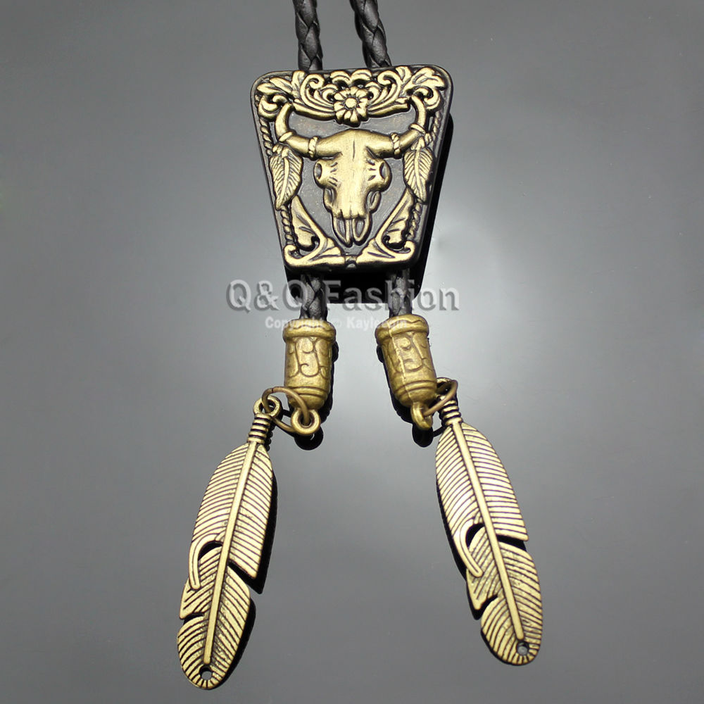 Brand New Vintage Gold Bronze Texas Bull Buffalo Longhorn Skull Leather Rodeo Western Bola Bolo Neck Tie Special