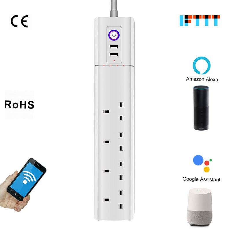 UK Plug Smart parasurtenseur multiprise 4 voies 3G1. 5 électrique USB Wifi rallonge électrique prise pour maison intelligente Alexa Outlet