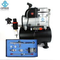 OPHIR 3 Tips Pro Airbrush & Compressor Kit Dual Action Spray Air Brush Set with 3L Air Tank for Tattoo Makeup Art_AC116+AC093