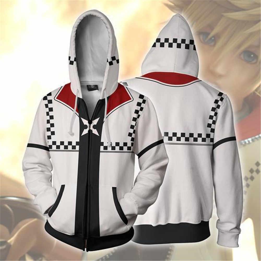 4a2747e6f08 Los corazones del reino Sora sudadera Cosplay hombres y mujeres traje Anime 3D  sudadera con cremallera