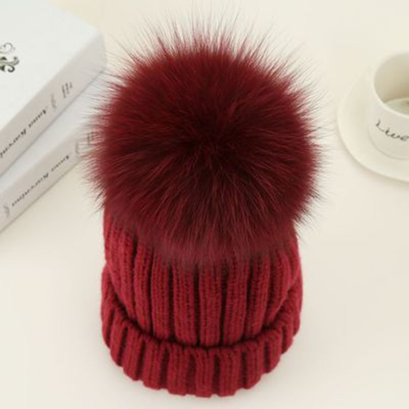 3c16cc4f16a91 ... Fashion Women Hat Winter 15cm Fox Fur Ball Pom Pom Knit Beanie Ski Cap  Bobble ...