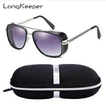 LongKeeper Iron Man TONY Stark okulary mężczyźni Retro boczne Shiled okulary óculos Masculino Gafas de sol z pudełkiem UV400 tanie i dobre opinie Long Keeper Z tworzywa sztucznego punk MIRROR Dla osób dorosłych H-LM-C-61 with Case Z poliwęglanu 65mm 50mm Sunglasses