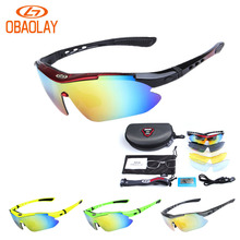OBAOLAY Polarized Sports Men Sunglasses Cycling Glasses MTB Bicycle Riding Protection Fishing Eyewear 5 Lens with Myopia Frame