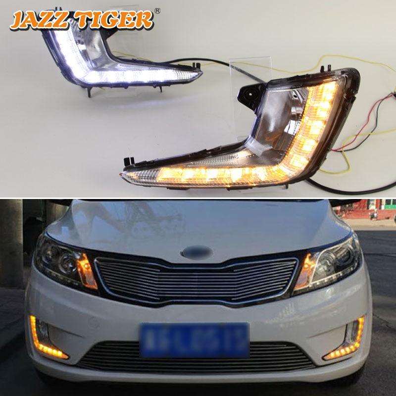 JAZZ TIGER 2PCS Yellow Turn Signal Function 12V Car DRL Lamp LED Daytime Running Light Daylight