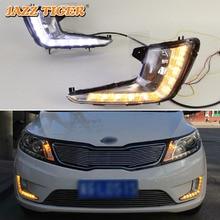 JAZZ TIGRE 2 pz Giallo Funzione di Indicatori di Direzione 12 v Auto DRL Lampada LED Daytime Corsa e Jogging Luce Diurna Per Kia rio K2 2011 2012-2014