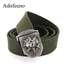 Adofeeno Skull Belt for Men Tactical Military Equipment Hip Belt Canvas Men's Ceinture Wide Strap Strong Buckle Free Shipping