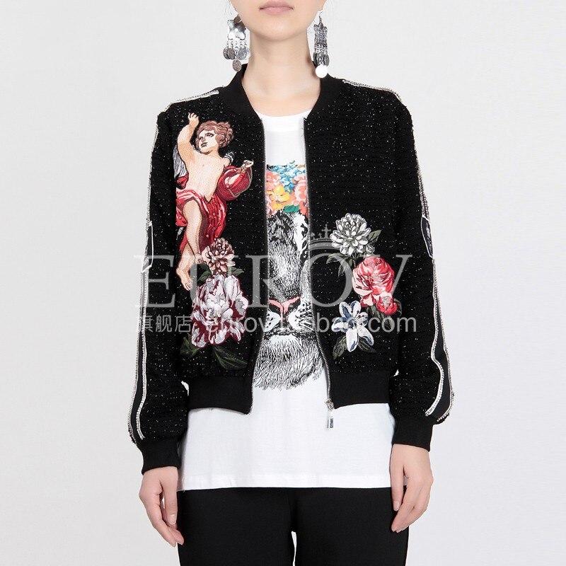 Noir Designer Haute Nouvelle Ball 2018 Diamant Femmes Ange Base Main Manteau Qualité Broderie Fleur Court Veste Automne IqwgC7Y